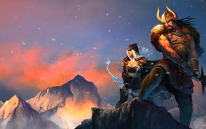 Игры: League of legends, ashe and tryndamere, sword, viking, girl, mountains