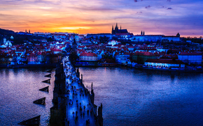 �����: Czech Republic, Prague, Vltava River, Sunset