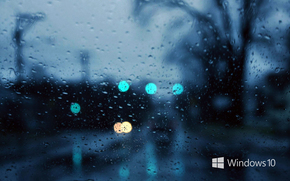 Hi-tech: windows 10, обои, дождь, капли, вечер, wallpapers