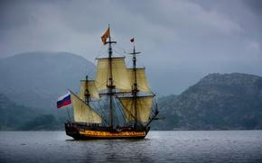 Корабли: Norway, Norwegian Sea, Норвегия, Норвежское море, фрегат Штандарт, фрегат, Штандарт, парусник, море, горы