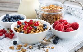 Разное: завтрак, мюсли, ягоды, малина, голубика, красная смородина