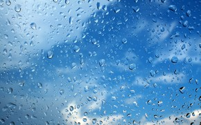 Текстуры: стекло, капли, небо, небо за стеклом, стекло в каплях