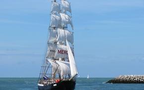 Корабли: Mercedes, North Sea, Северное море, парусник, море