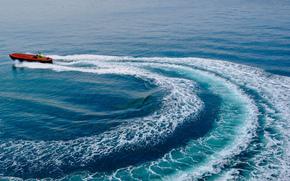 Корабли: Gulf of Lion, Лионский залив, море, катер, след
