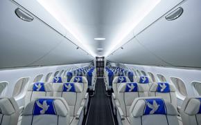 Авиация: Пассажирский, салон, самолет, МС-21, ЯК, авиация, кресло, голубь