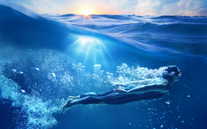 Рендеринг: море, волны, девушка