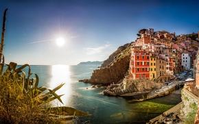 �����: Riomaggiore, Cinque Terre, Liguria, Italy, Ligurian Sea, ����������, ������-�����, �������, ������, ����������� ����, ����, ������, ��������