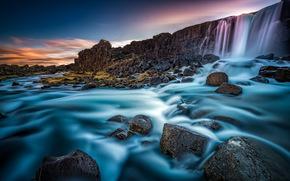 Пейзажи: Oxararfoss, Oxara river, Arnessysla, Iceland, Эхсараурфосс, река Эхсарау, Исландия, водопад, стена, река, камни