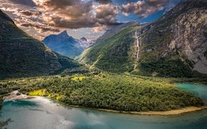 Пейзажи: Vikane, Sogn og Fjordane, Norway, Викaн, Согн-ог-Фьюране, Норвегия, долина, горы, озеро, облака, панорама