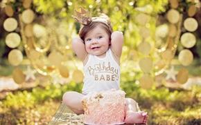 Настроения: девочка, именинница, день рождения, торт, корона, принцесса, настроение