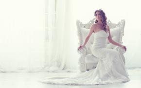 Стиль: невеста, свадебное платье, платье, кресло, стиль