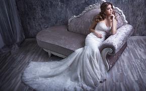 Стиль: невеста, свадебное платье, платье, диван, настроение, стиль