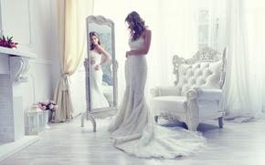 Стиль: невеста, свадебное платье, платье, зеркало, отражение, кресло, стиль
