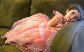 Настроения: девочка, балерина, отдых, диван, текстура