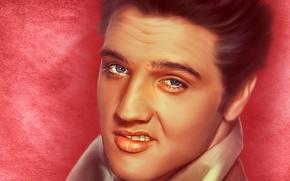 Музыка: Elvis Presley, Элвис Пресли, певец, король рок-н-ролла, рок-н-ролл, лицо, портрет, текстура