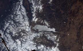 Космос: Озеро Хубсугул, Монголия, горы, Змля, космос