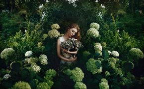 Настроения: девушка, цветы, гортензия, настроение