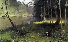 Обои Пейзажи: живопись, Дубовской, лесная река, картина, вода, трава, деревья, берег, бабочки, лодки, люди