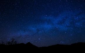 Пейзажи: Звёзды, ночь, Млечный Путь, горизонт, космос, пейзаж
