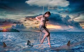 Рендеринг: море, девушка, качели, акулы, закат