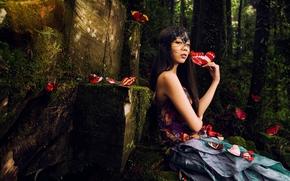 Настроения: девушка, азиатка, бабочки, маска, лес, настроение