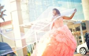 Настроения: девушка, невеста, свадебное платье, фата, платье, настроение