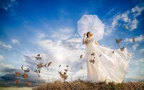 Настроения: девушка, платье, зонтик, ветер, листья, настроение