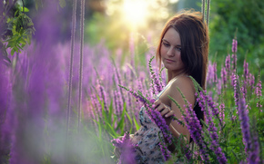 Настроения: девушка, цветы, качели, настроение