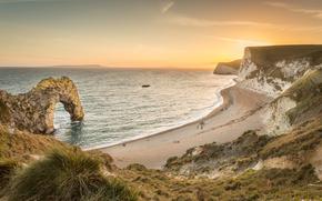 Пейзажи: Durdle Door, Dorset, англия, скалы, море, берег, арка, закат, пейзаж