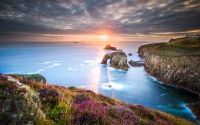 Пейзажи: Корнуолл, Юго-Западная Англия, закат, море, скалы, пейзаж