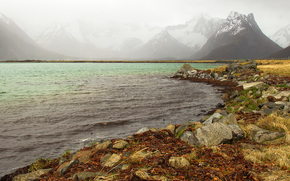 Пейзажи: Кабельвог, Нурланн, Норвегия, Kabelv?g, Nordland, Norwegen, фьорд, горы, камни