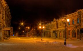 Город: Киров, Россия, зима, старый город, ночь, улица, снег, фонари
