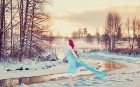 Рендеринг: зима, река, закат, деревья, девушка, пейзаж