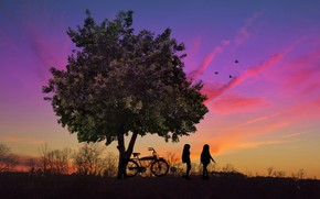 Рендеринг: закат, дерево, дети