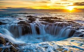 Пейзажи: Thor's Well, Линкольн, Орегон, Соединённые Штаты, врата в подземелье, колодец, закат, пейзаж, мыс Перпетуа, Северная Америка