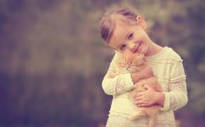 Настроения: девочка, рыжий котёнок, котёнок, друзья, улыбка, настроение