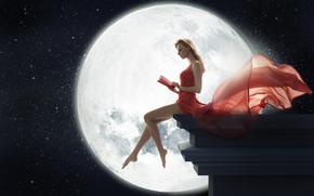 ����������: moon, girl, book, red, dress, night