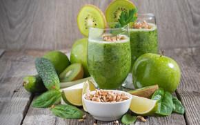 Разное: фрукты, овощи, коктейль, витамины, ростки, яблоки, огурцы, лайм, киви