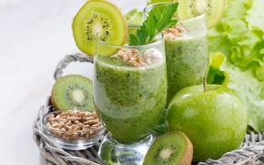 Разное: фрукты, коктейль, витамины, ростки, яблоко, киви