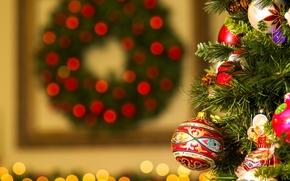 Праздники: Новый год, Рождество, ёлка, игрушки, украшения, шарики, блики