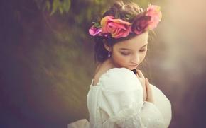 Настроения: девочка, венок, настроение