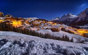 Город: Arosa, Ароза, Швейцария, закат, горы, горнолыжный курорт