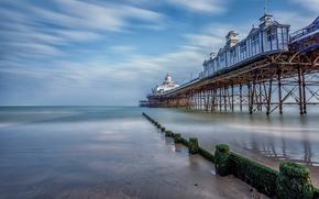 Пейзажи: Eastbourne, Истборн, Англия, графство Восточный Суссекс, Ла-Манш, море, закат, пирс, пейзаж