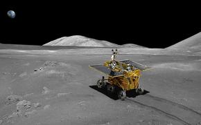 Космос: Китайский Луноход, Луна, Земля, планета, спутник, космос, наука, техника, след