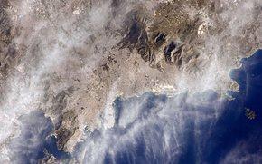 Город: Афины, Греция, город, море, космос, планета, Земля, горы, облака