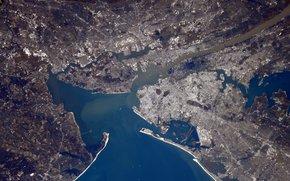 Город: Город, Нью-Йорк, Америка, планета, Земля, космос, залив, река