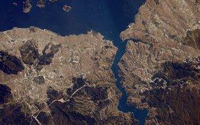 Город: Город, Стамбул, пролив, Босфор, море, планета, Земля, космос