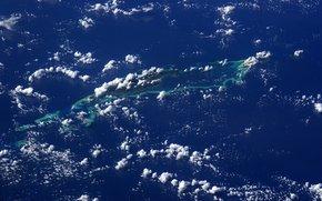 Космос: Острова Челбахеб, Южная Лагуна, Палау, скалы, кораллы, океан, облака, планета, Знмля, космос