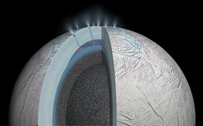 Космос: Гидротермальная активность на Энцеладе, спутник Сатурна, космос