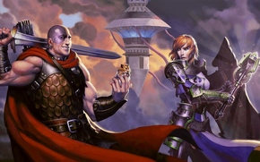Игры: Dungeons_and_dragons_neverwinter, mace, sword, rat, tower, castle, mountain